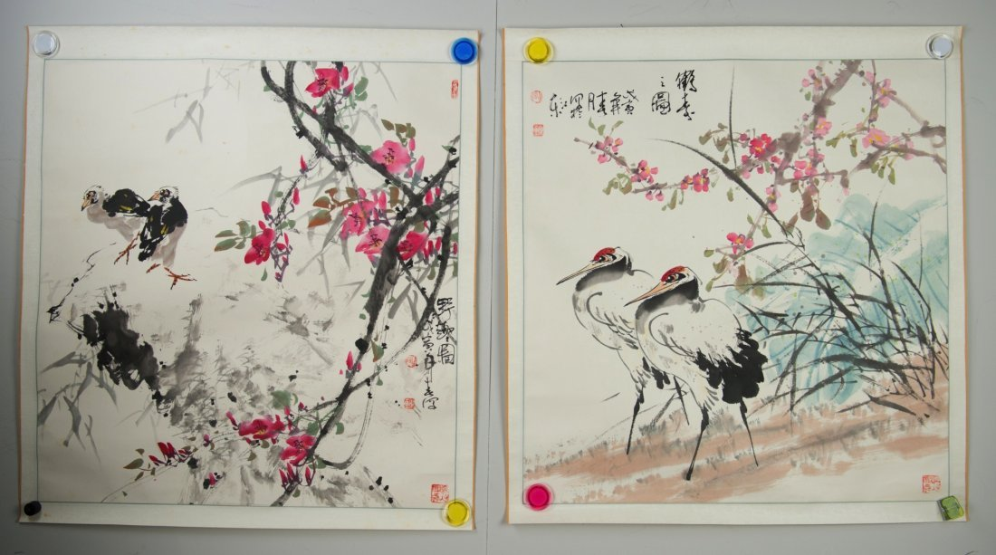 Chinese Watercolour Painting of Birds Signed