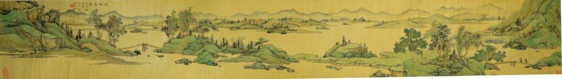 Chinese Landscape Painting on Silk by Wu Hu Fan