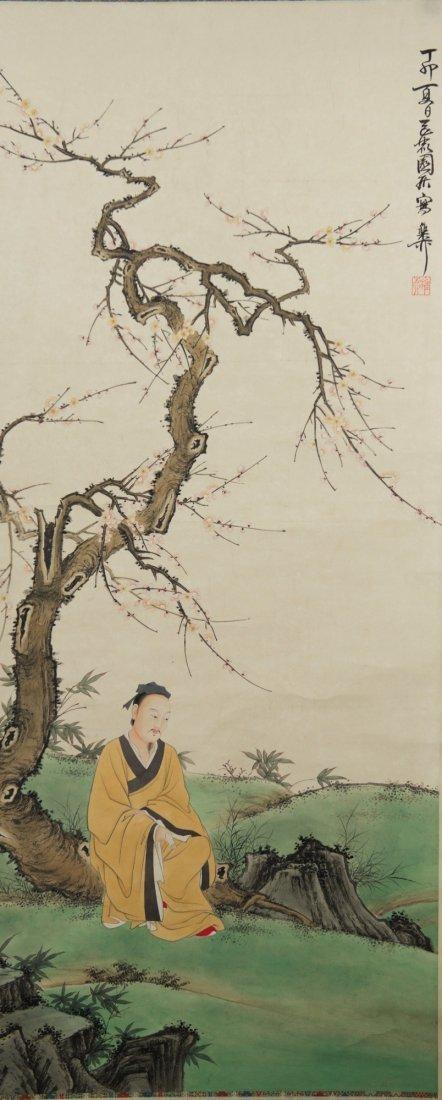 Painting of Man Under Prunus Tree Xie Zhi Liu