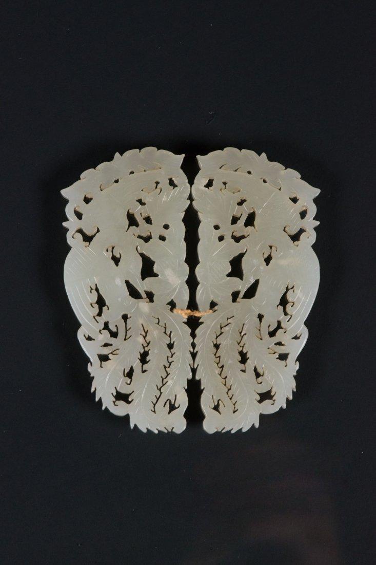 Pair of Chinese White Jade Carved Phoenix Pendants