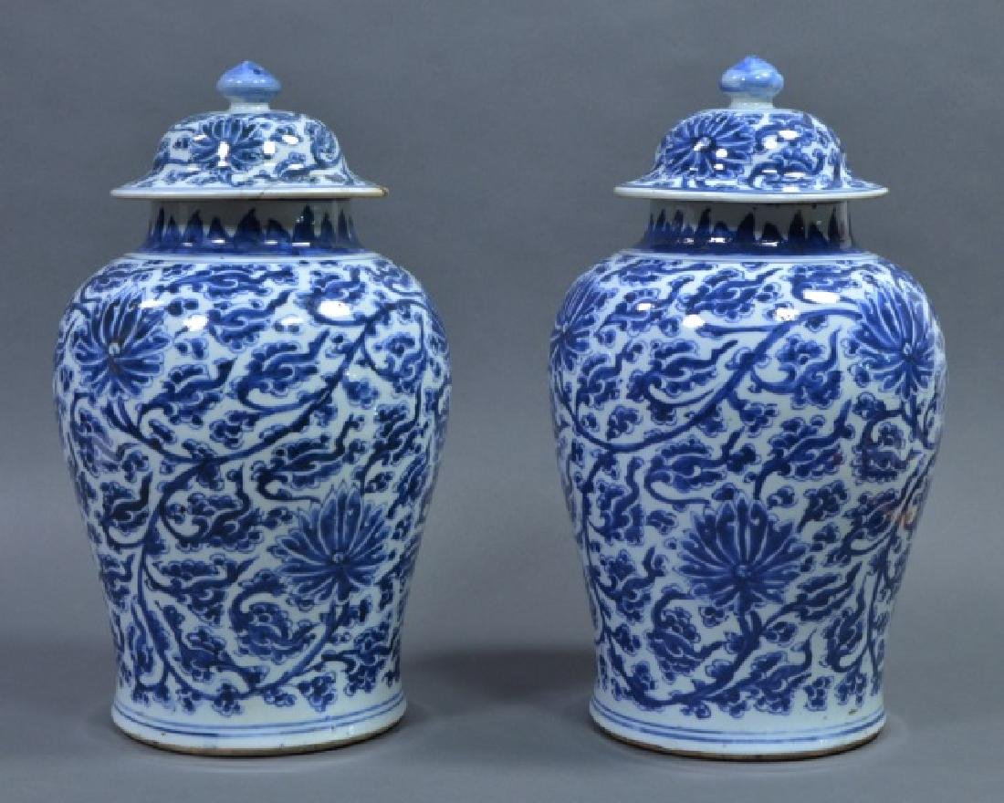 Two Large Chinese Blue & White Vases