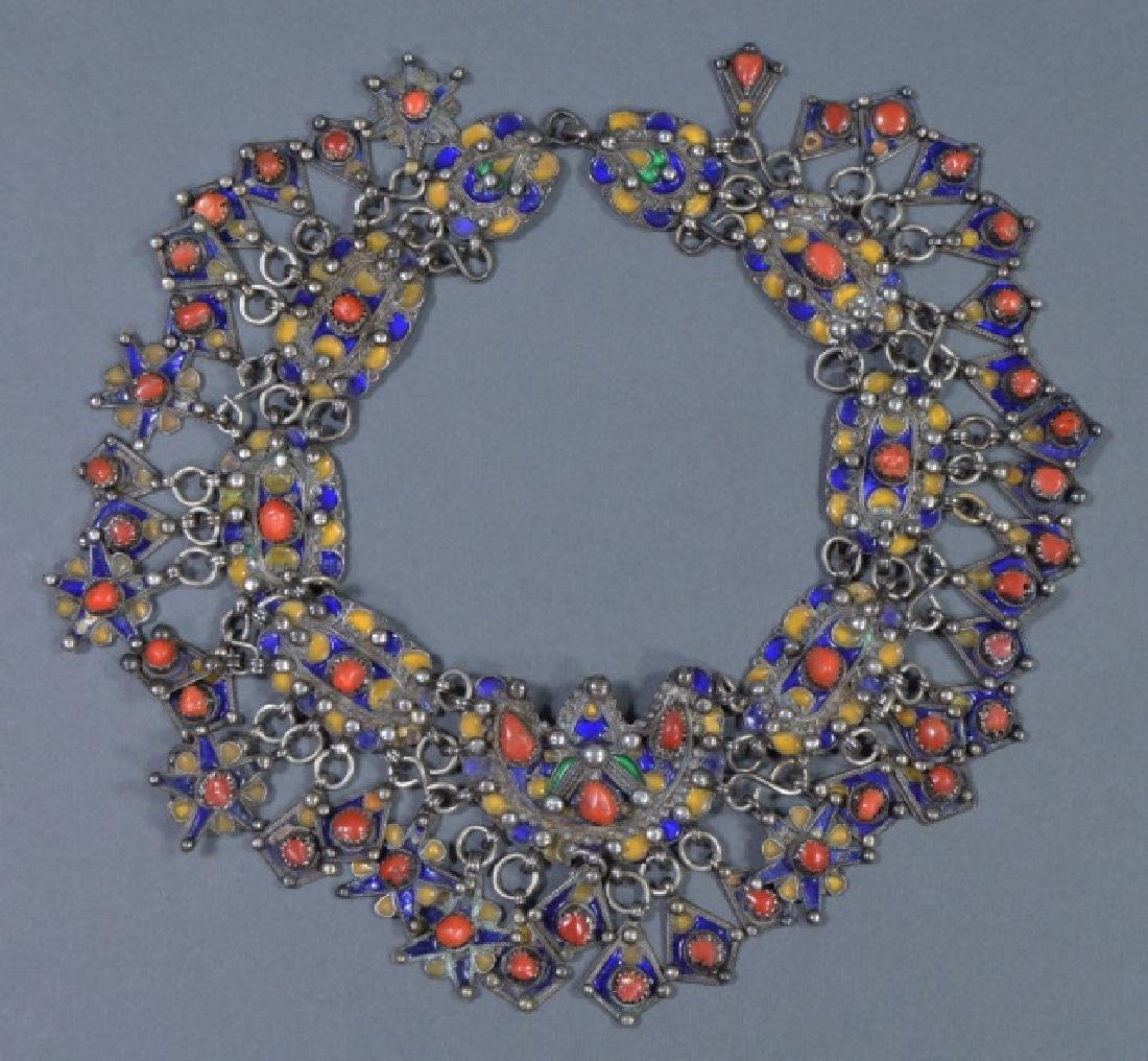 North African Silver and Red Coral Collar Necklace