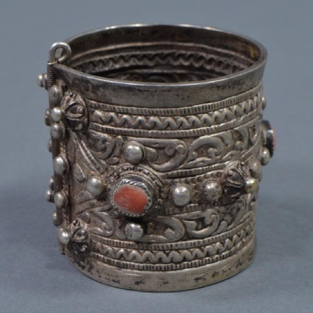 North African Silver Cuff Bracelet - 3