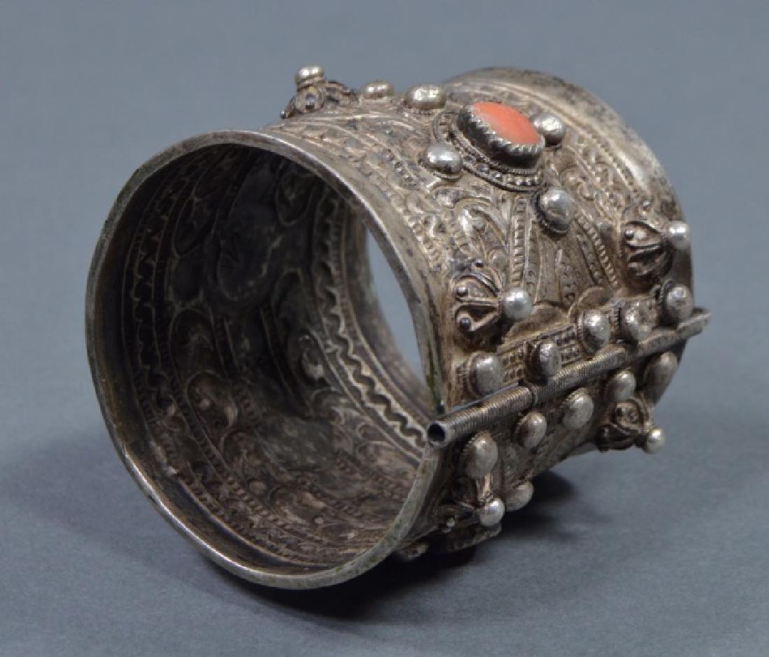North African Silver Cuff Bracelet - 4