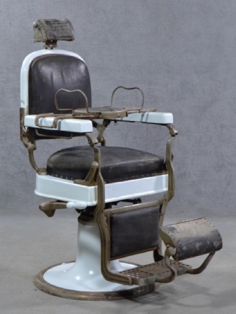 White Enamel Ceramic Barber Chair