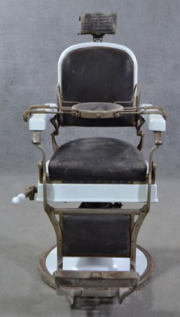 White Enamel Ceramic Barber Chair - 2