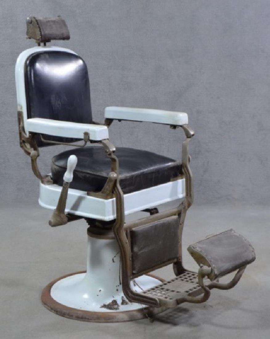 White Enamel Ceramic Barber Chair