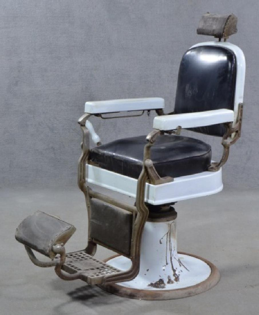 White Enamel Ceramic Barber Chair - 2