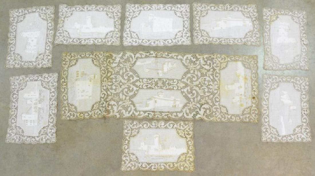 Antique Hand-Made Lace Placemats and Table Runner