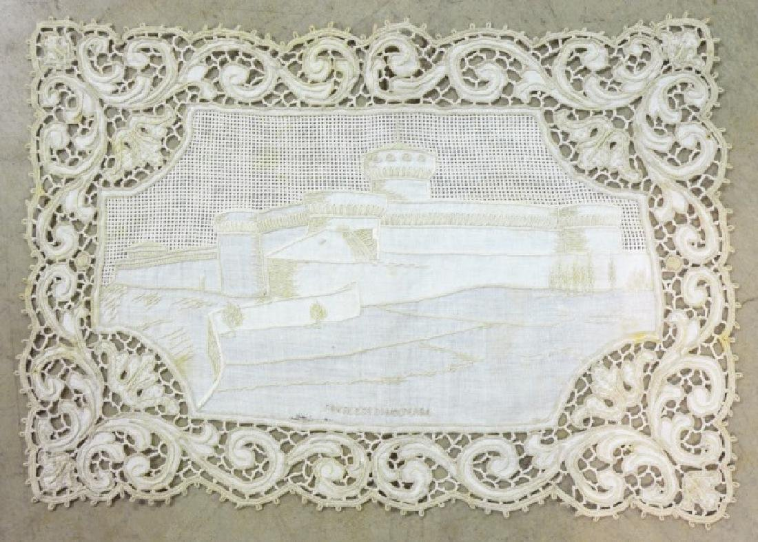 Antique Hand-Made Lace Placemats and Table Runner - 6