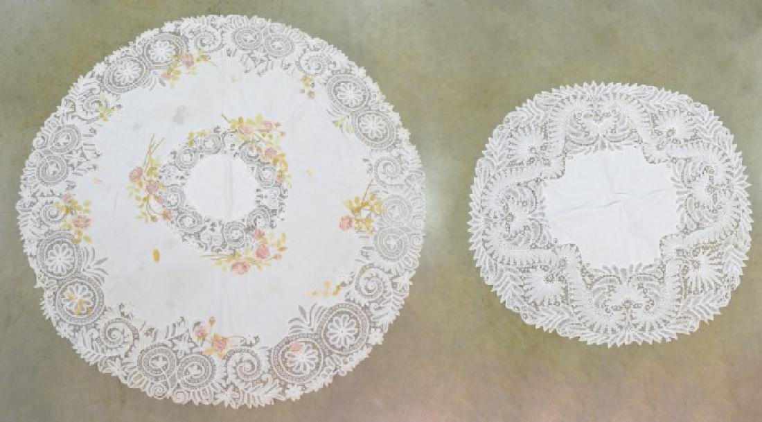 Two Vintage Circular Lace Tablecloths