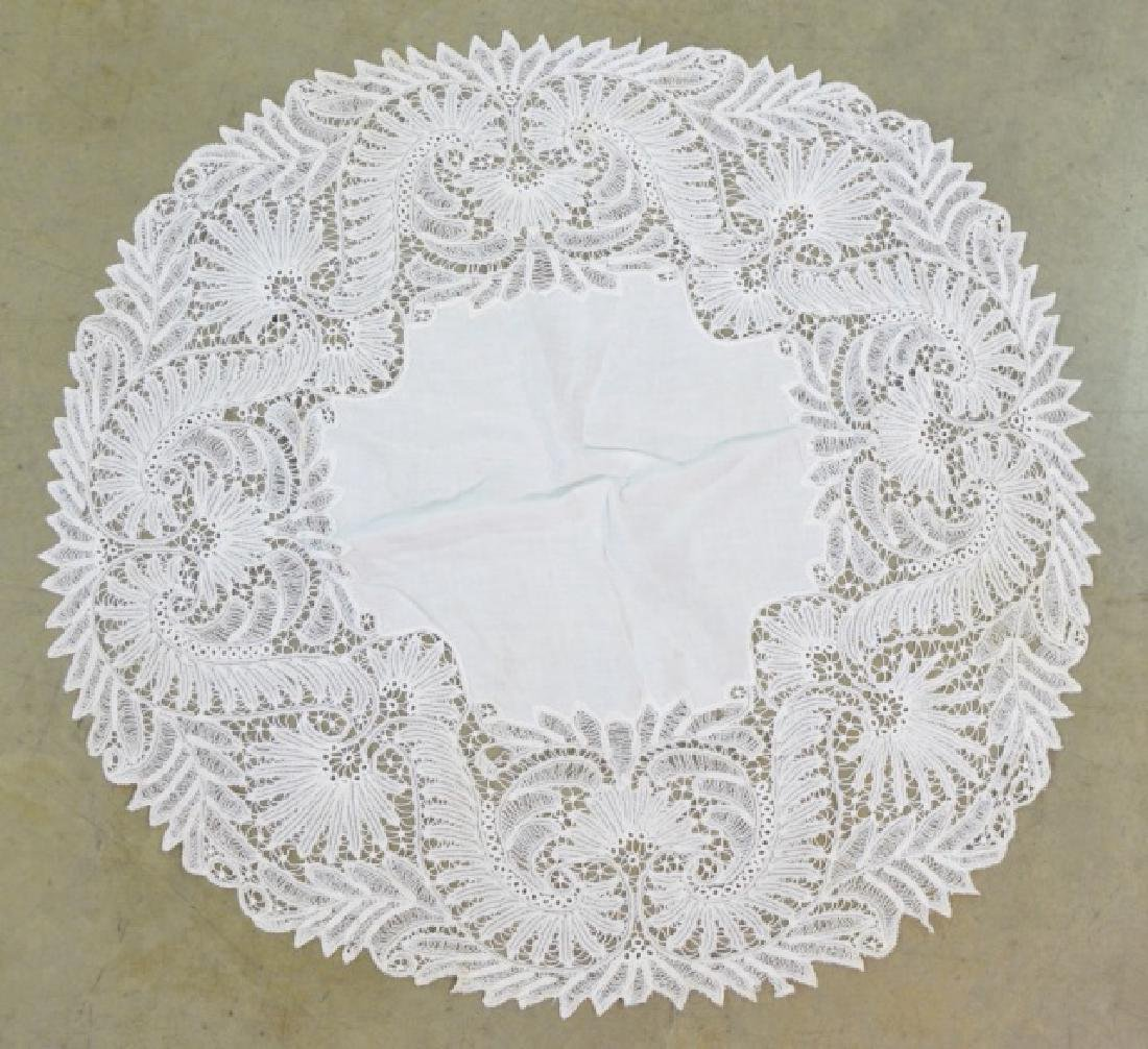 Two Vintage Circular Lace Tablecloths - 2
