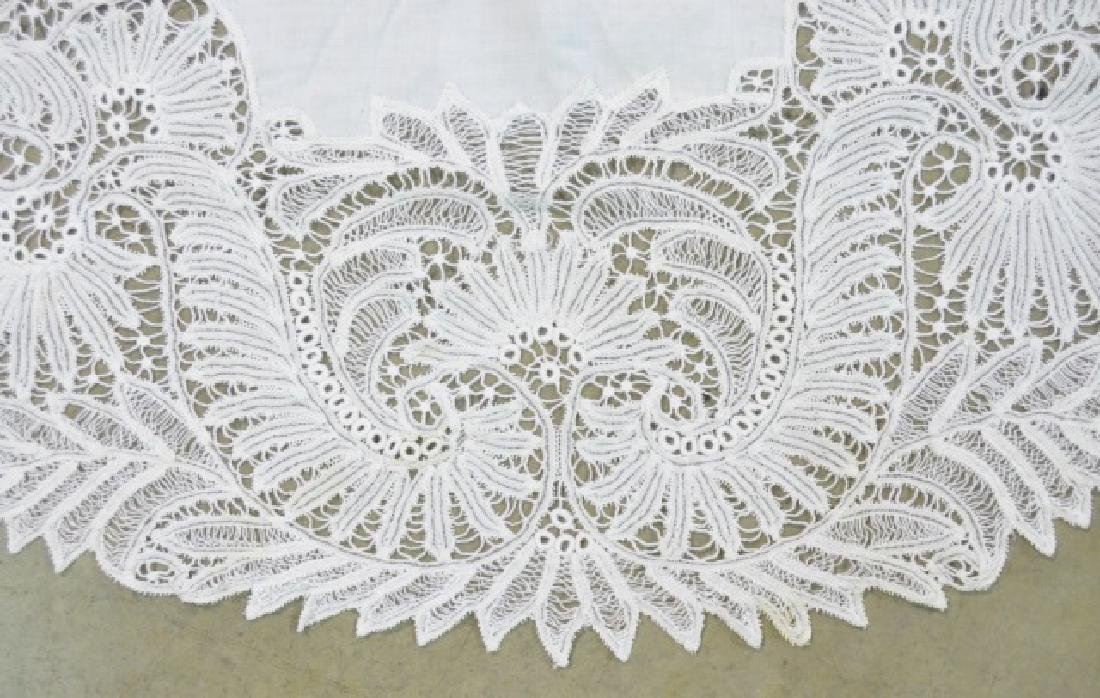 Two Vintage Circular Lace Tablecloths - 3