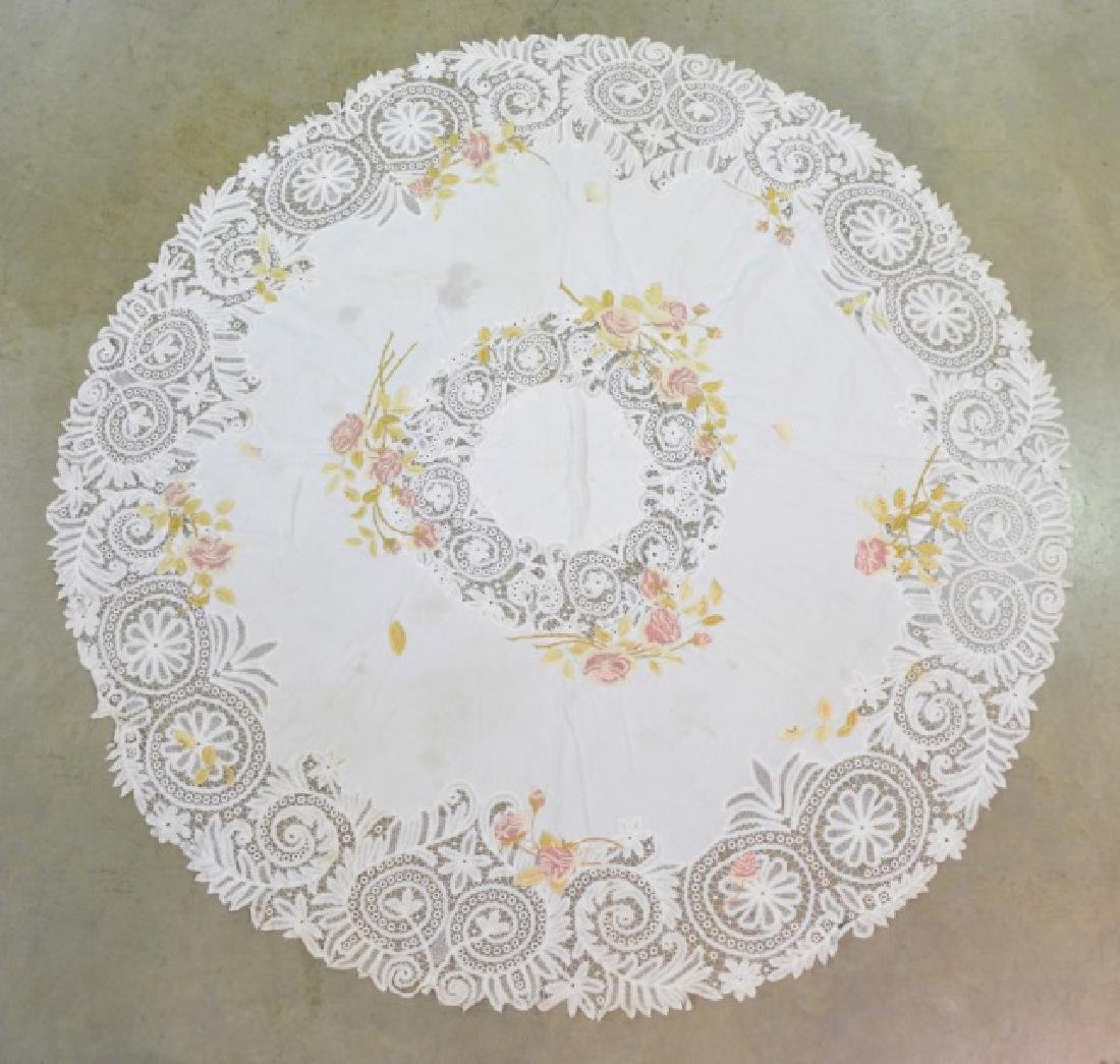 Two Vintage Circular Lace Tablecloths - 4
