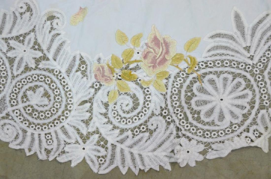 Two Vintage Circular Lace Tablecloths - 5