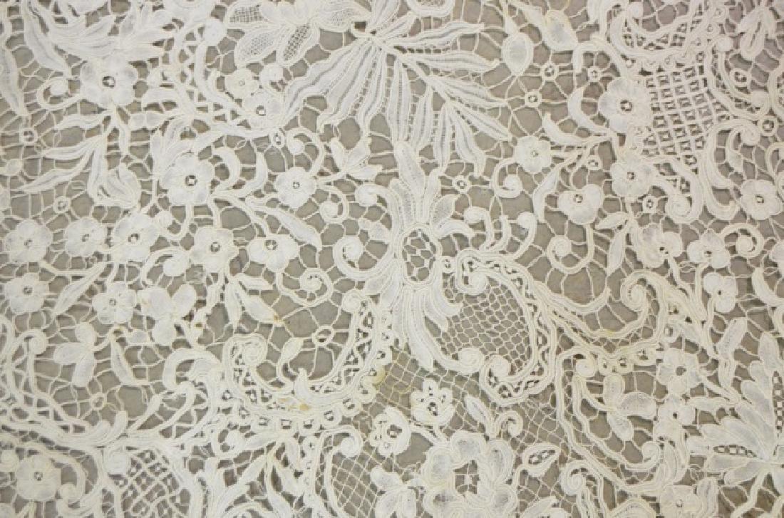Antique Honiton Lace Circular Cotton Tablecloth - 2