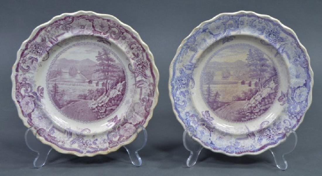 Group of Early American Transferware Plates - 2