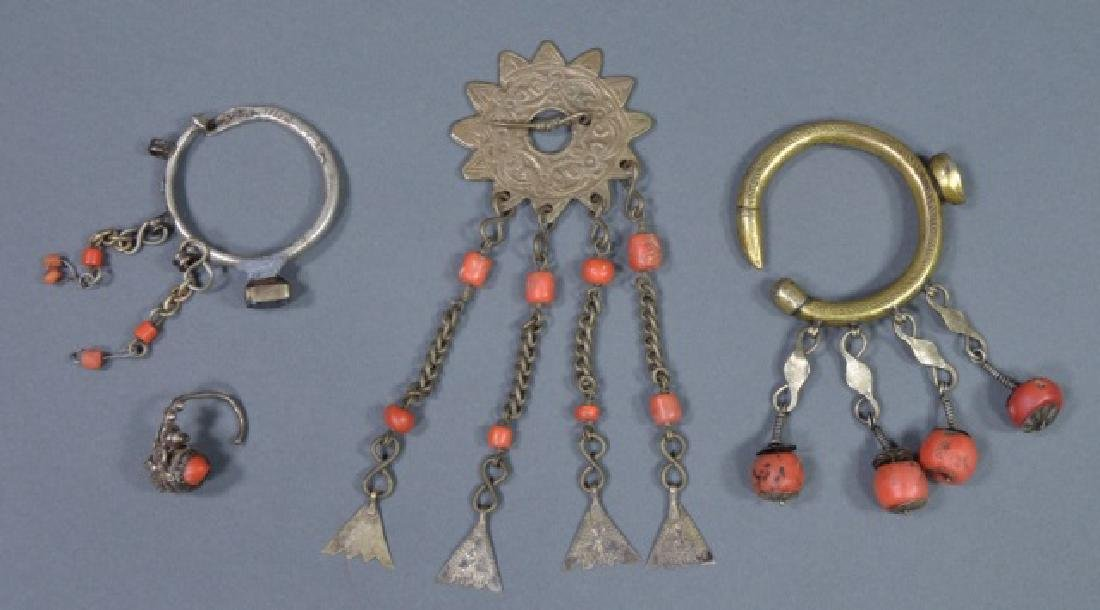 Three Pieces of North African Red Coral Jewelry