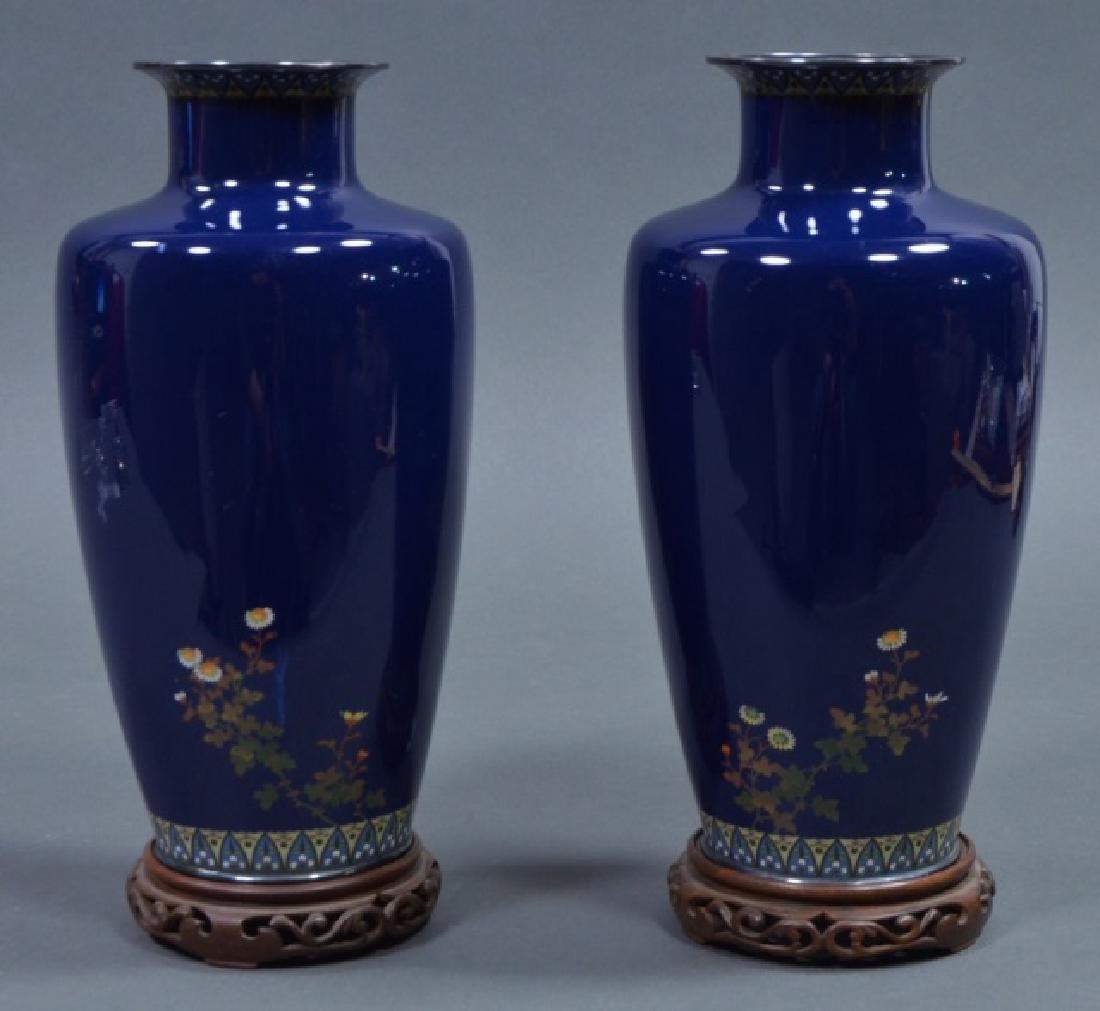 Pair of Japanese Cloisonné Vases - 2