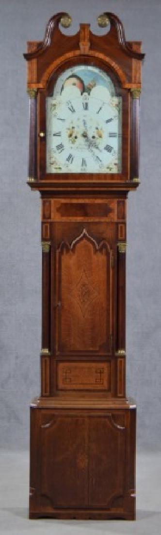 Oak and Mahogany English Tall Case Clock