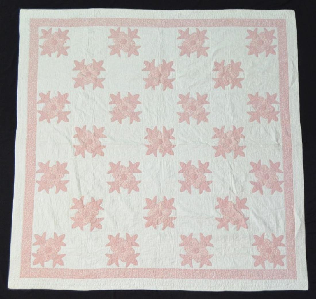 Pink and White Floral Appliqué Quilt