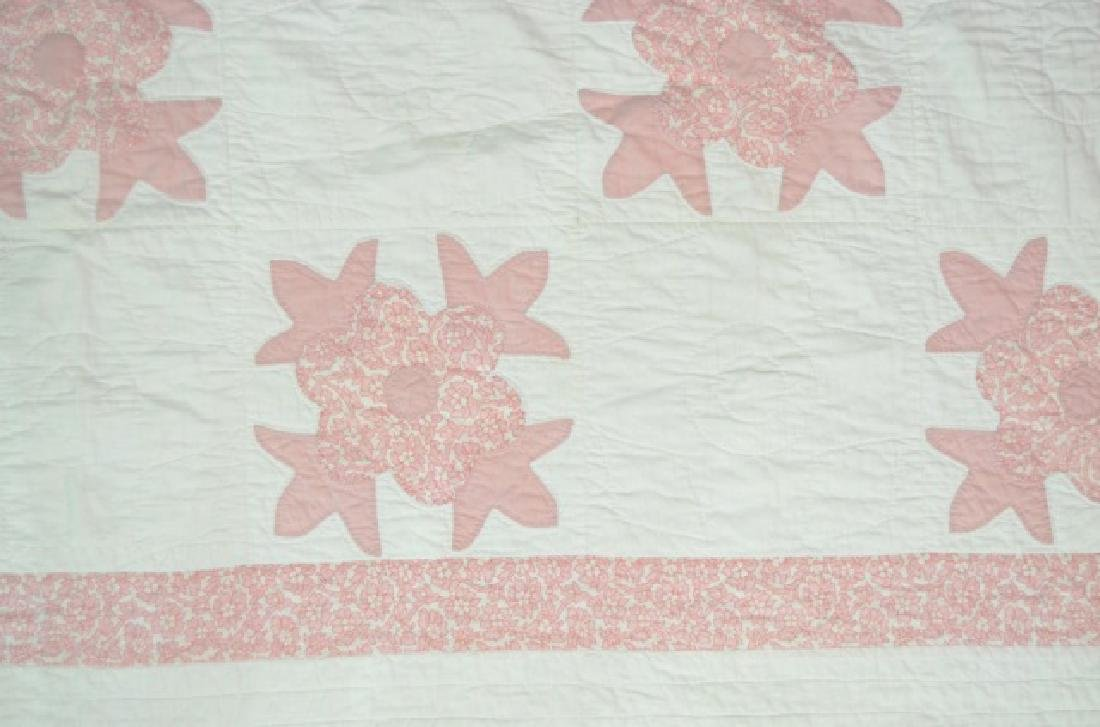 Pink and White Floral Appliqué Quilt - 3