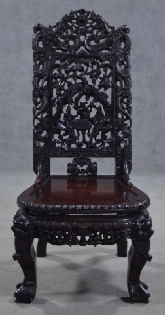 Elaborately Carved Chinese Side Chair - 3