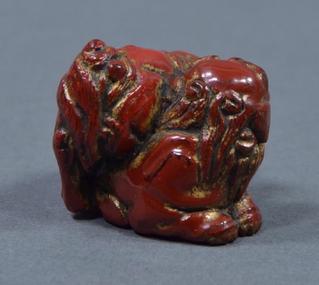 Antique Red Lacquer Netsuke - 2