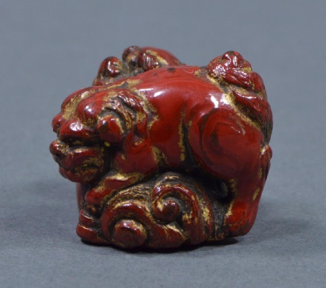Antique Red Lacquer Netsuke - 3