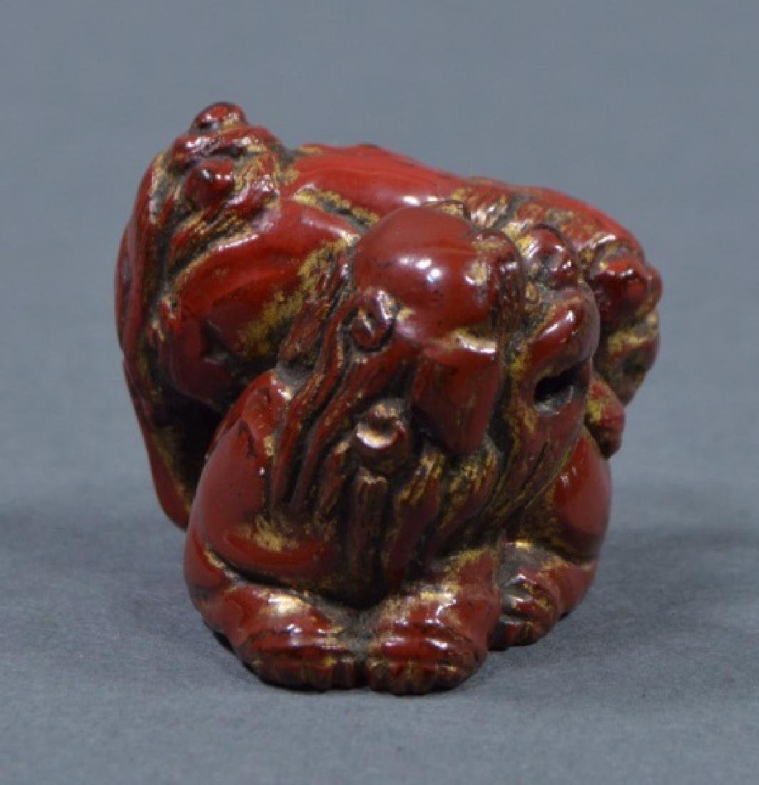 Antique Red Lacquer Netsuke - 4