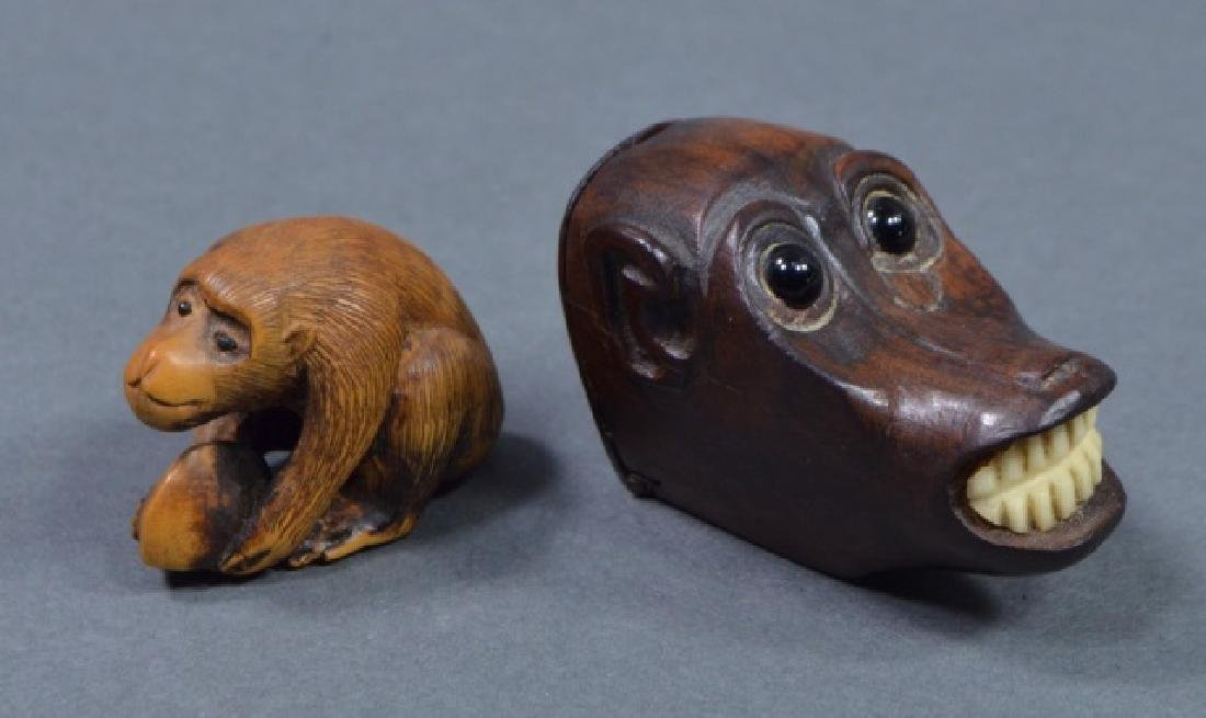 Two Antique Carved Japanese Monkey Figures