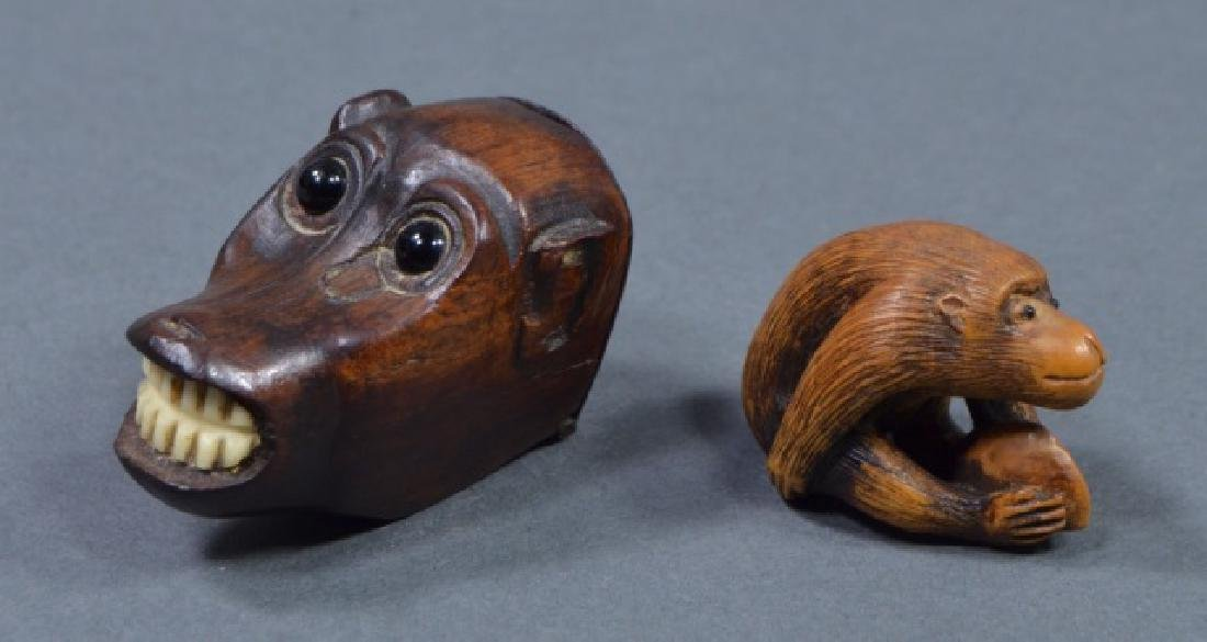 Two Antique Carved Japanese Monkey Figures - 2