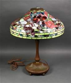 Tiffany Marked Mosaic Glass Lamp
