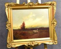 Oil on Canvas of Shepherd w/ Flock of Sheep