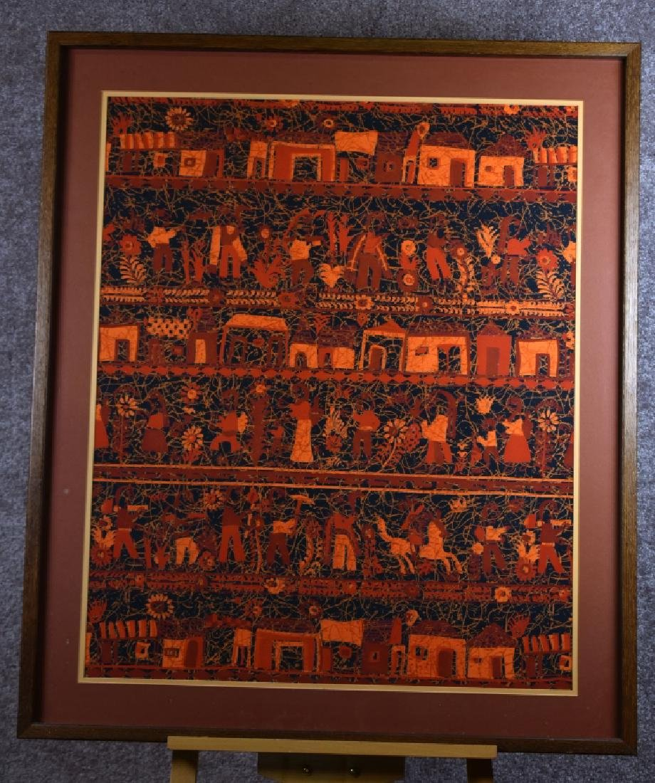 Batik Print with Rows of Figures & Houses