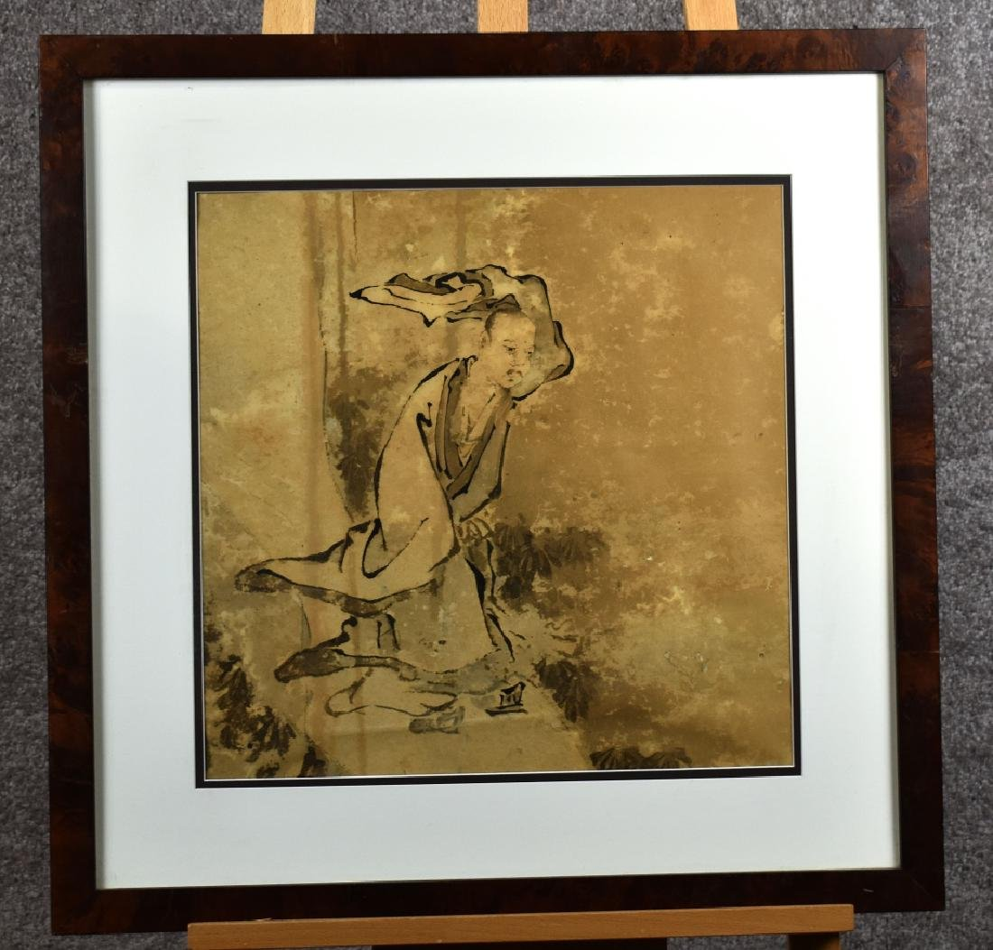 Japanese Style Watercolor of Man Walking in Wind