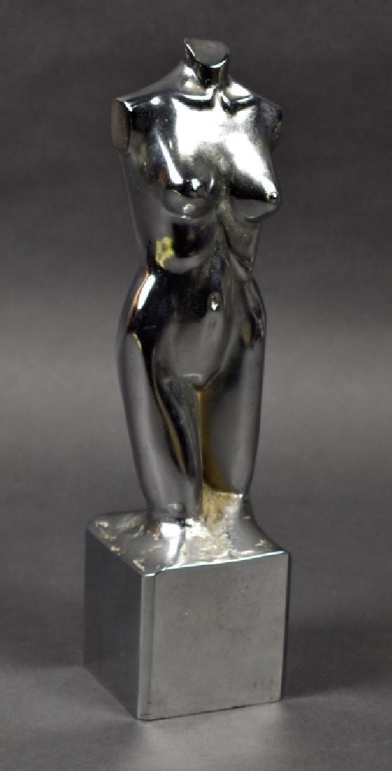 Solid Cast Steel Torso of Female Figure