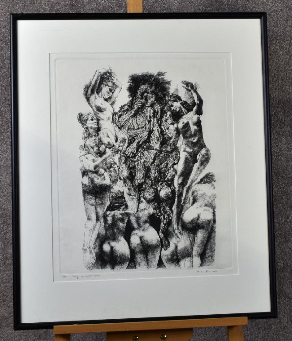 1976 Lithograph of Nude Women, Signed