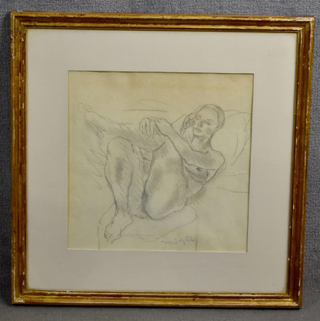 Moses Soyer Crayon Sketch of Reclining Nude