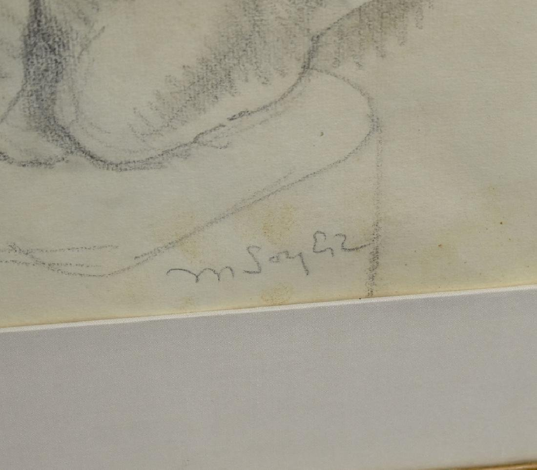 Moses Soyer Crayon Sketch of Reclining Nude - 2