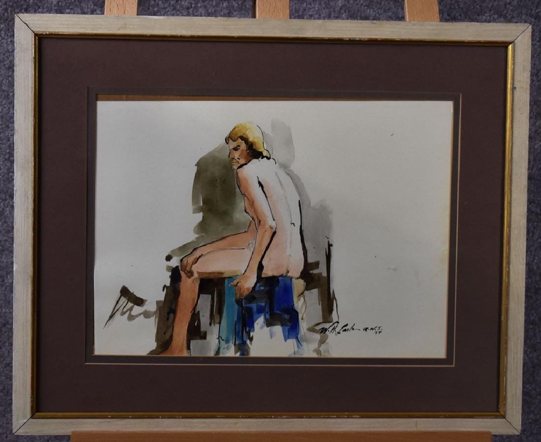 Watercolor of Nude Male, Signed 1977 W H Earle