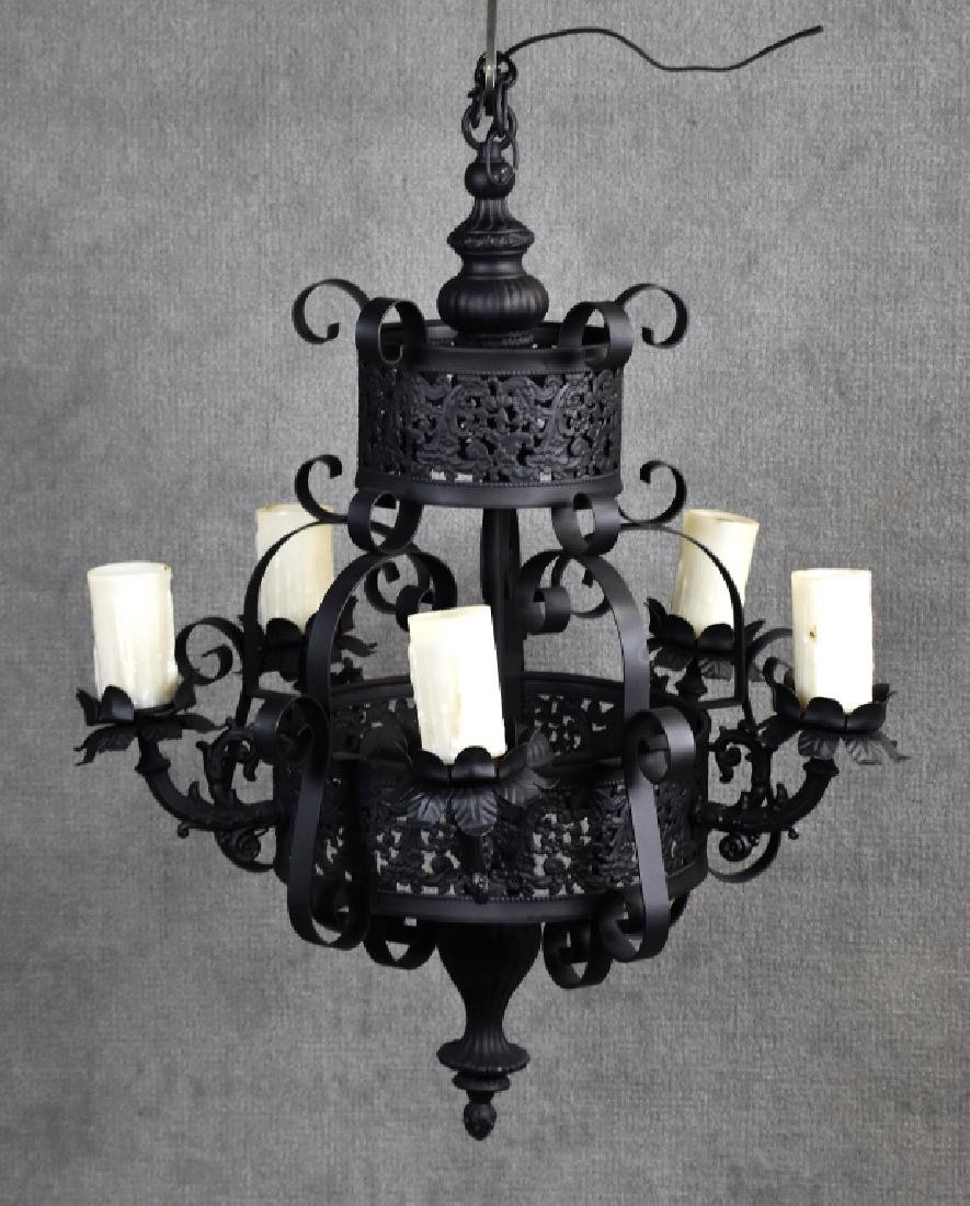 Continental Gothic Revival Style Iron Chandelier