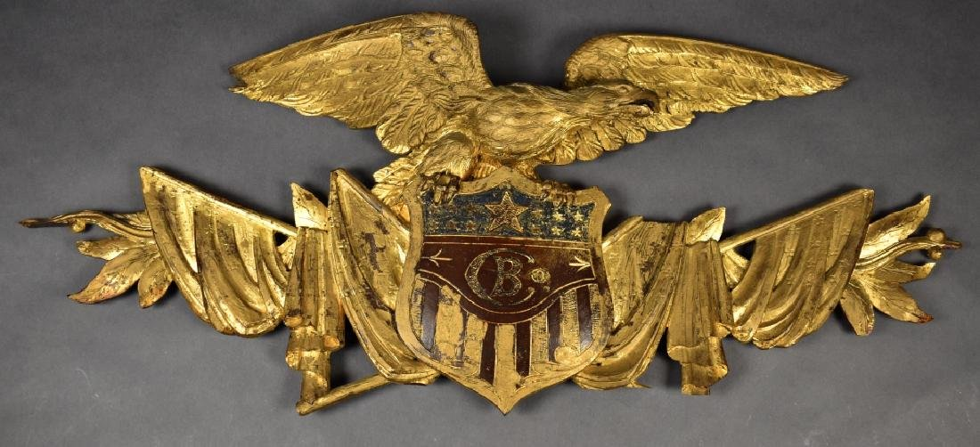 Circa 1850 Carved Wood Eagle With Shield