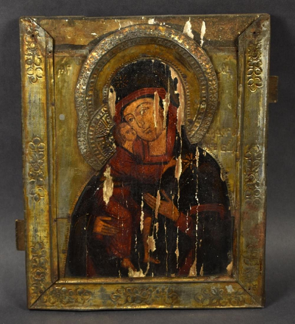 "Oil on Splined Board Icon ""Mother of God with Child"""