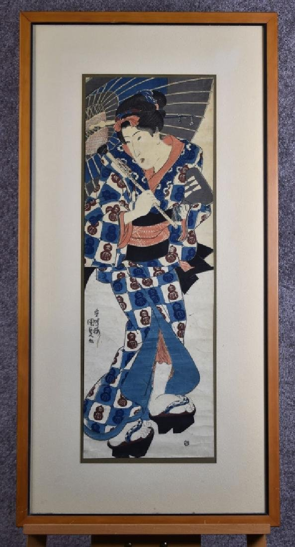 1830 Kunisada Woodblock Print of Geisha Girl