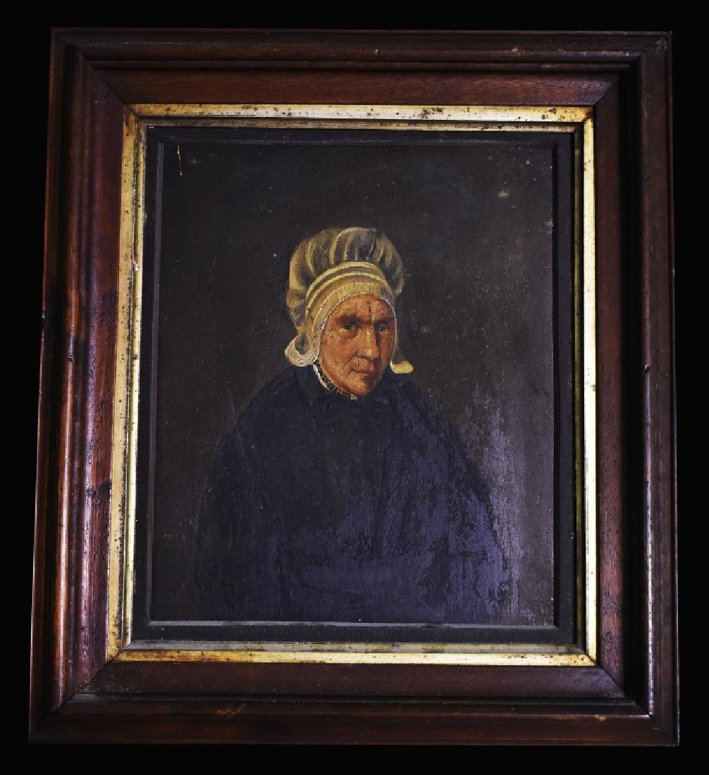 Oil on Board Portrait of Mature Lady in Mop Cap