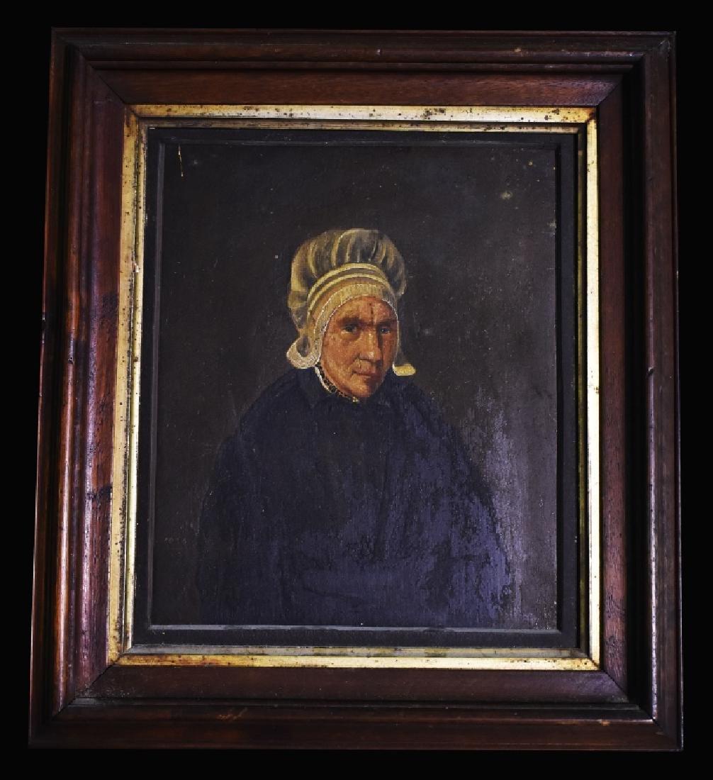 Oil on Board Portrait of Mature Lady in Mop Cap