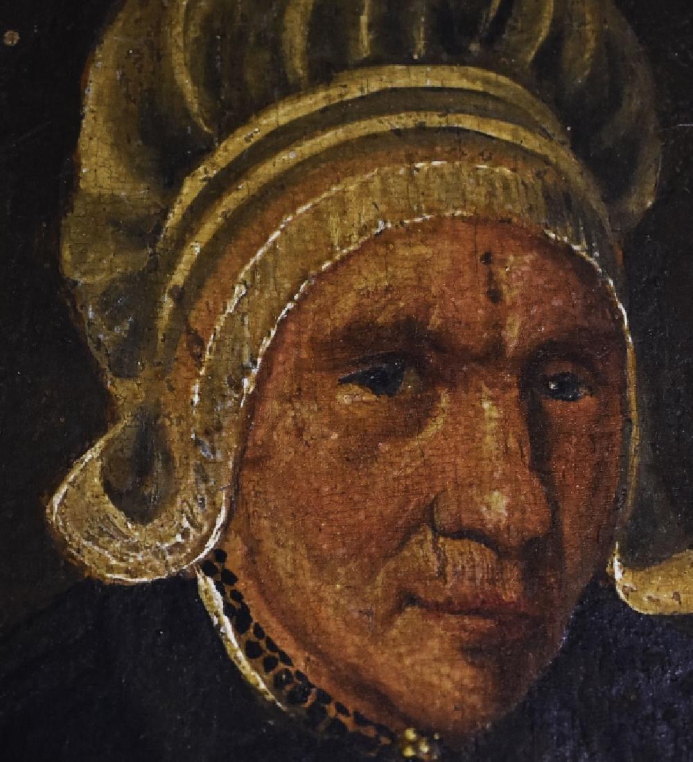 Oil on Board Portrait of Mature Lady in Mop Cap - 2