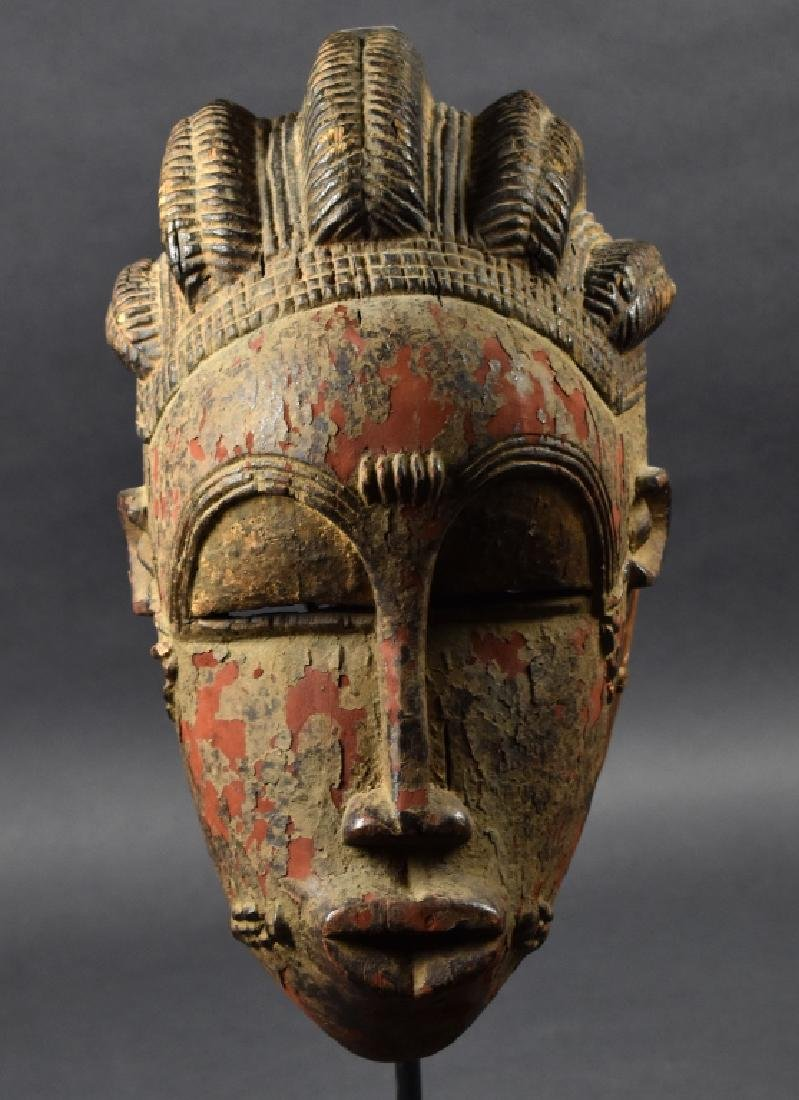 West African Baule Mask on Stand