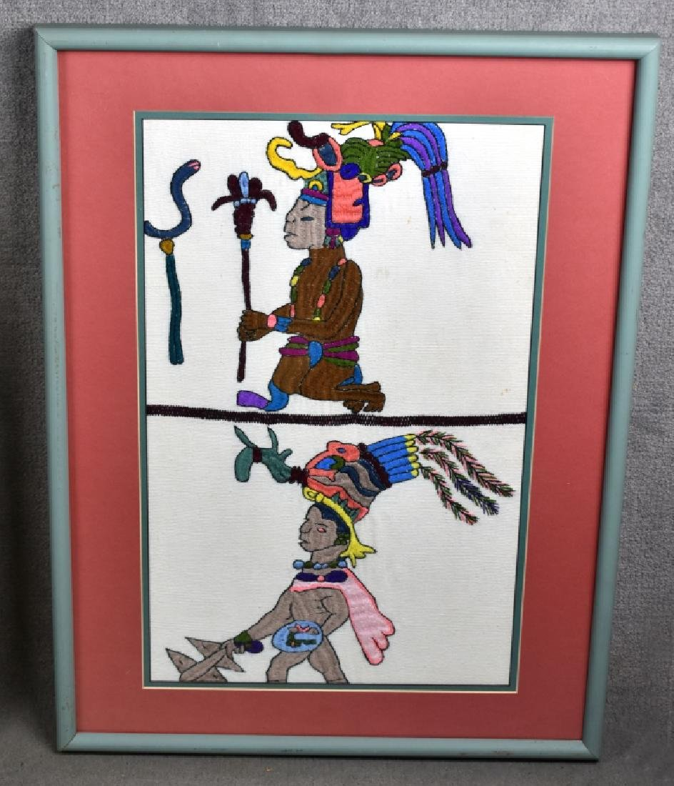 Framed Embroidered Picture of African Warriors